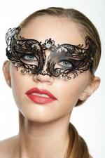 Masque v�nitien Spirit 3 - Masque v�nitien en m�tal incrust� de strass, deux ailes myst�rieuses capturent votre regard.