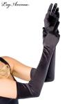Gants longs noirs de soir�e, tr�s �l�gants avec leur textur�e satin�e.