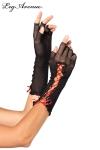 Mitaines demi-doigts en r�sille noire, et un ruban de satin rouge lac�.