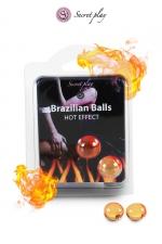 2 Brazilian Balls effet chaleur  - La chaleur du corps transforme la brazilian ball en liquide glissant à effet chaud, votre imagination s'en trouve exacerbée.