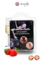 2 Brazilian Balls - fraise & champagne - La chaleur du corps transforme la brazilian ball en liquide glissant au parfum fraise & champagne, votre imagination s'en trouve exacerbée.