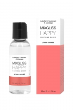 Mixgliss silicone - Litchi - 50ml - Fluide 2 en 1 massage et lubrifiant riche en silicone, parfum litchi.