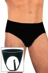 Slip en latex noir naturel pour hommes avec p�nis int�gr� pour la p�n�tration anale.