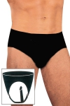 Slip avec penis anal int�gr� en latex noir naturel pour hommes et femmes.