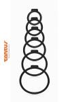 6 anneaux de tailles diff�rentes pour adapter le sextoy de votre choix � votre harnais Tantus.