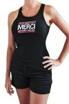 D�bardeur femme, noir, classique J&M affichant le c�l�bre slogan: On dit merci qui? Taille XL.