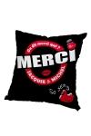 Housse de coussin 40 x 40 cm, coloris noir et rouge, par Jacquie et Michel.