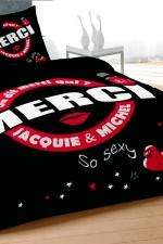 Housse de couette J et M 240x220 cm - noir - Qui de mieux que Jacquie et Michel pour décorer votre lit d'un message coquin et sans tabou?
