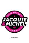 Pack de 5 Stickers noirs Jacquie & Michel  (dimensions 8.1 x 7 cm) � coller o� vous voulez.