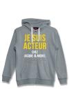 Sweat-shirt J&M � capuche gris avec message  JE SUIS ACTEUR CHEZ JACQUIE & MICHEL  sur le devant.