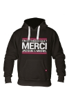 Sweat-shirt � capuche noir avec logo rectangle  on dit merci qui  de Jacquie et Michel sur le devant.