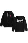 Veste � capuche noire J&M avec logo  JACQUIE & MICHEL STAFF  dans le dos et petit logo J&M sur le devant.