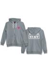 Veste � capuche grise J&M avec logo  JACQUIE & MICHEL STAFF  dans le dos et petit logo J&M sur le devant.
