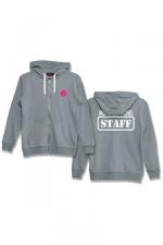 Veste à capuche J&M Staff gris - Veste à capuche grise J&M avec logo  JACQUIE & MICHEL STAFF  dans le dos et petit logo J&M sur le devant.