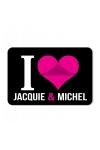 Plaque de porte humoristique Jacquie et Michel, en PVC, avec message: I love Jacquie & Michel.
