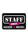 Plaque de porte humoristique Jacquie et Michel, en PVC, avec message: Staff only - Jacquie & Michel.