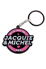 Porte-clés J&M logo rond - porte-clés Jacquie & Michel, forme ronde, et son slogan incontournable  On dit merci qui ? Merci Jacquie & Michel .