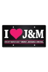Plaque de porte haute qualit� en m�tal, dimensions 20 x 30 cm, avec message  I love Jacquie & Michel .