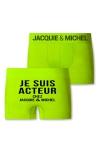 Boxer sans couture, coloris anis,  avec inscription  Je suis acteur chez Jacquie et Michel  sur l'arri�re.