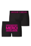 Boxer sans couture, coloris noir,  avec inscription  On dit merci qui? Merci Jacquie & Michel  sur l'arri�re.