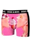 Boxer Jacquie & Michel humoristique en microfibre repr�sentant un c�ne glac� fondant sous les langue de deux femmes.