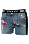 Boxer Jacquie & Michel humoristique en microfibre repr�sentant un serpent sortant de la braguette d'un short en Blue Jean.