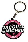 Porte-cl�s Jacquie & Michel, forme ronde, et son slogan incontournable  On dit merci qui ? Merci Jacquie & Michel .