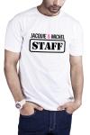 T-shirt humoristique Jacquie et Michel STAFF, en blanc, pour impressionner votre entourage !