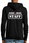 Veste � capuche noire J&M avec logo  JACQUIE & MICHEL STAFF  dans le dos et petit logo rond J&M sur le devant.
