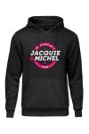 Sweat-shirt � capuche noir avec logo rond  on dit merci qui  de Jacquie et Michel sur le devant.
