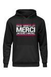 Sweat-shirt � capuche noir avec logo rectangulaire  on dit merci qui  de Jacquie et Michel sur la poitrine.