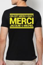 T-shirt Jacquie & Michel Jaune fluo - A la demande générale, le t-shirt J&M jaune Fluo pour faire la fête et briller jusqu'au bout de la nuit.