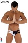 Jock-Strap lycra bicolore, l'esprit yin et yang dans une lingerie r�serv�e aux hommes.