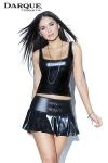 Mini jupe pliss�e taille basse en wetlook brillant avec deux boucles d�coratives devant.