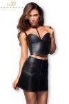 Jupe courte faux cuir avec incrustations tressées, et zip intégral devant et derrière.