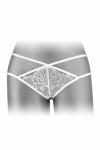 String coquin blanc en dentelle et ornements crois�s, ouvert entre les cuisses, par Fashion Secret.
