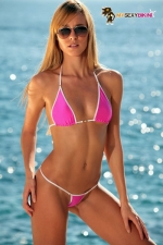 Maillot string Palm Beach - Mini maillot string en lycra, le bikini sexy indispensable.