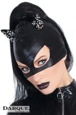 Masque chat Darque - Un masque de chat(te) en wetlook aux oreilles brodées de perles cristal, féline de charme.