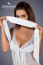 Bandeau satiné blanc - Bandez lui les yeux et excitez ses sens avec ce magnifique bandeau blanc satiné de marque Obsessive.
