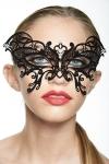 Masque bijou en métal et strass qui forme un papillon magnifique sur le regard.