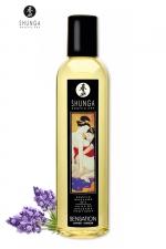 Huile de massage érotique - Lavande - Huile de massage érotique  Sensation  à la lavande pour éveiller les sens et la réceptivité amoureuse, par Shunga.