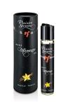 Huile de massage comestible avec go�t vanille exquis, par Plaisirs Secrets.