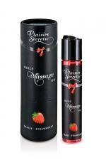 Huile de massage gourmande - Fraise - Huile de massage comestible avec goût fraise exquis, par Plaisirs Secrets.