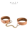 Paire de bracelets / menottes pour chevilles ultra tendance (couleur marron), 100% Vegan, pour vos jeux de soumission et de domination  Soft.