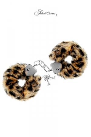 Paire de menottes Glamour en métal, recouvertes d'une fourrure tigrée, par Sweet Caress.