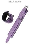 Paire de menottes de poignets en cuir violet de la gamme Crave Line - by Spartacus.