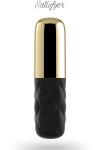 Mini vibro mais maxi vibrations, �tanche,  avec capuchon amovible pour varier les stimulations. Coloris dor� et noir.