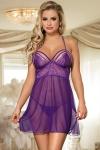 Nuisette violette tr�s sexy en maille fine et dentelle, d�collet�e, avec string assorti inclus.