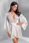 Peignoir lingerie avec ceinture �cru satin�, bord� de tulle brod� de motifs cachemire blanc et vieux rose.