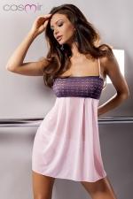 Nuisette Muna - Nuisette bandeau en tulle rose tendre, qui sert la poitrine de dentelle aux motifs baroques.